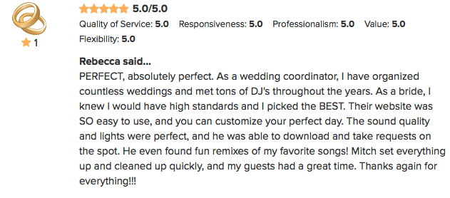 DJ Mitch WeddingWire review from Rebecca